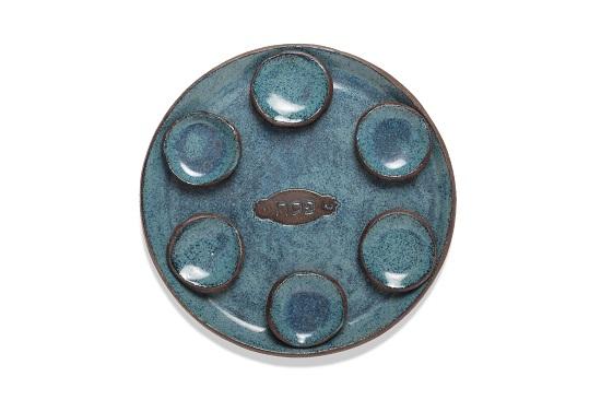 צלחת סדר פסח כחולה + 6 קעריות כחולות